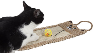 Pet Life ® Eco-Natural Sisal & Jute Hanging Carpet Kitty Cat Scratcher Lounge with Toy