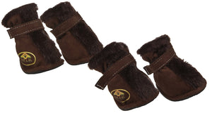Pet Life ® Fur-Comfort 3M Insulated Fashion Fur and Suede Winter Dog Shoes Boots - Set of 4