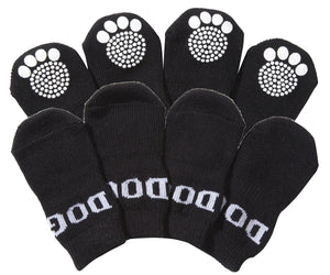 Pet Life ® Anti-Slip Rubberized Gripped Breathable Stretch Pet Dog Socks - Set of 4