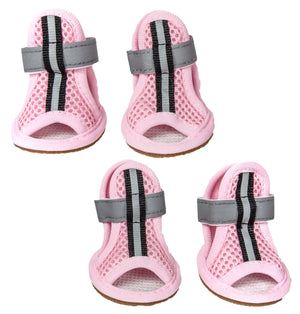 Pet Life ® 'Sporty-Supportive' Water-Resistant Mesh Dog Shoes Sandals - Set Of 4