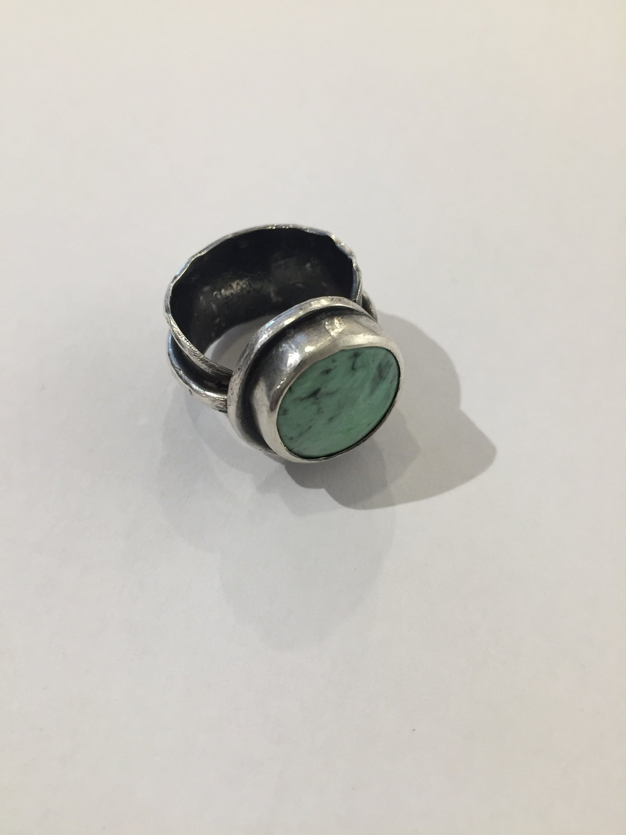India Wysong Sterling Feather Ring With Variscite