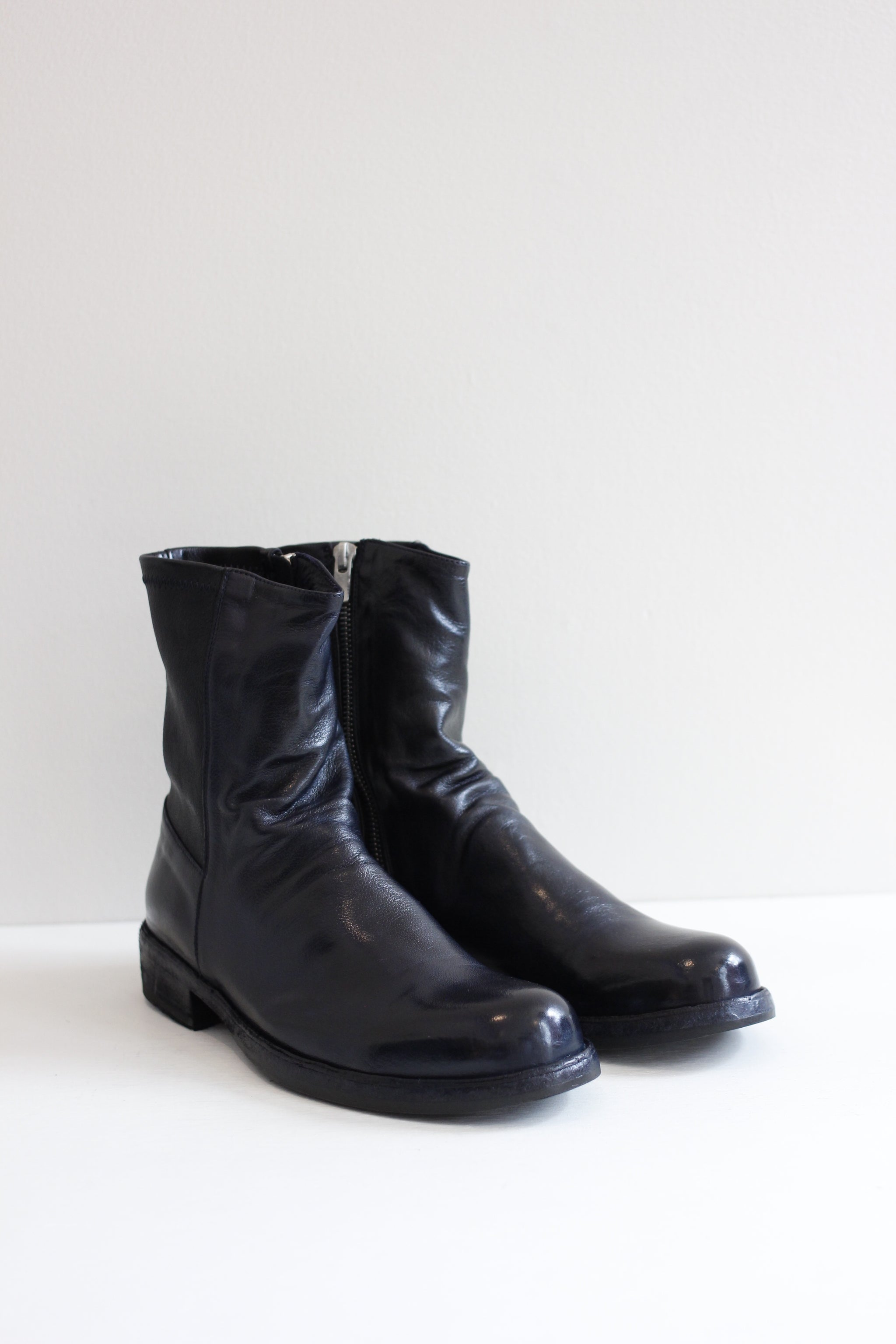 Officine Creative Navy Leather Boots