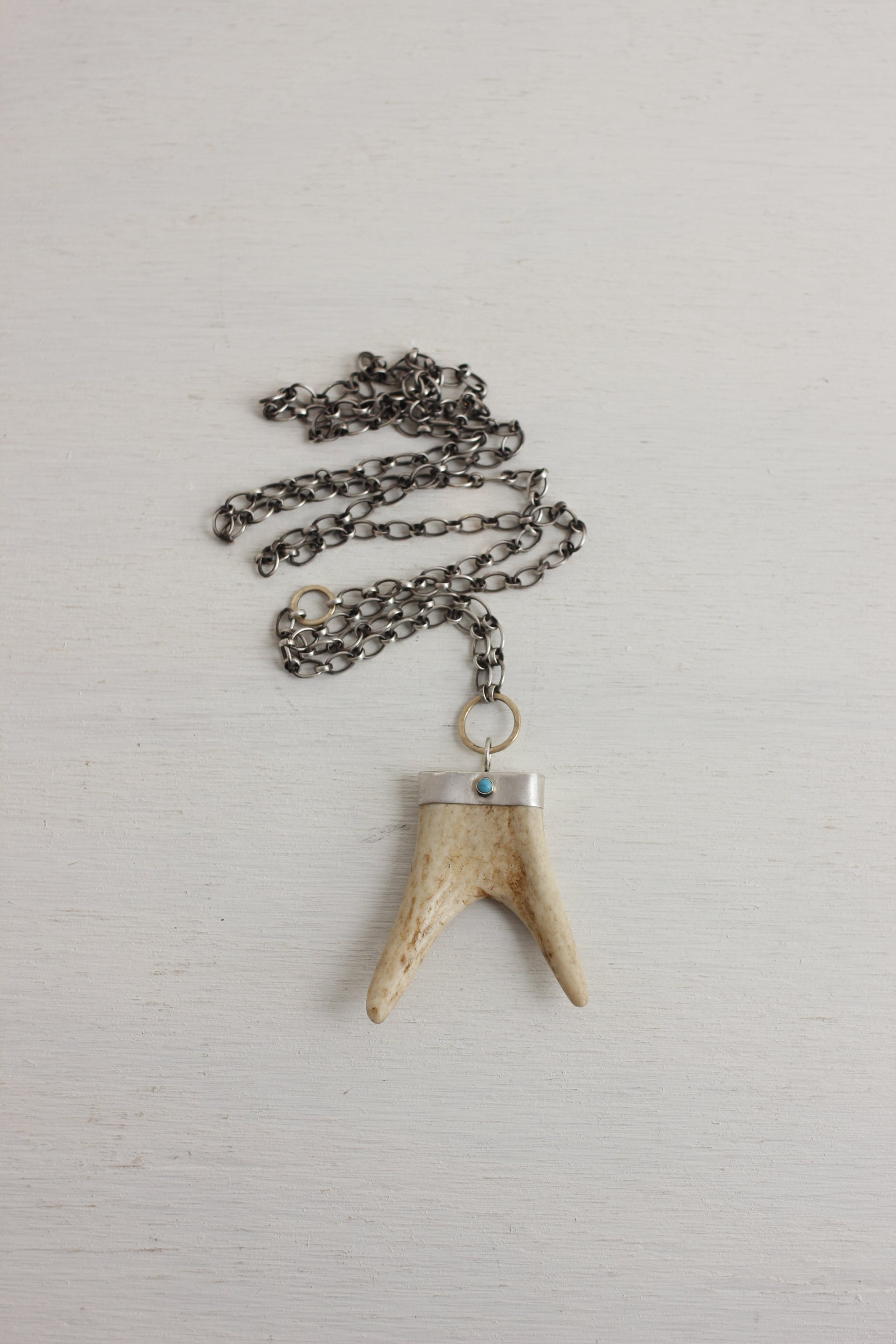 CLP antler tip necklace on chain