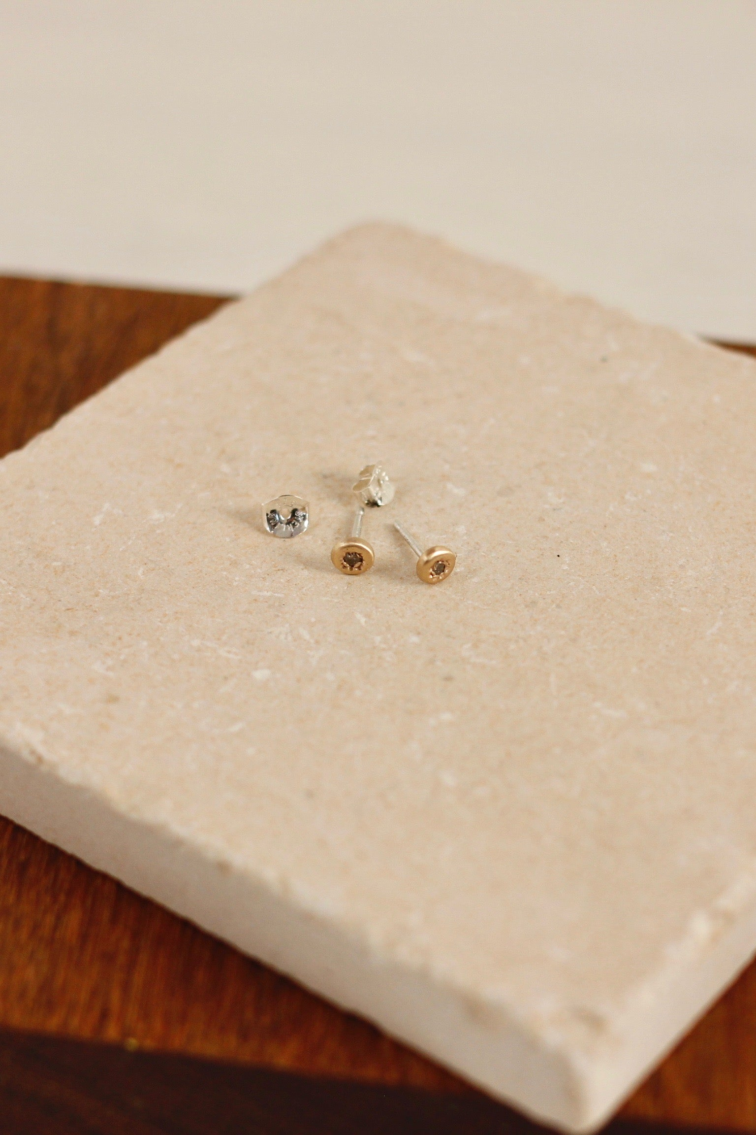 CLP diamond and 14k gold stud earrings