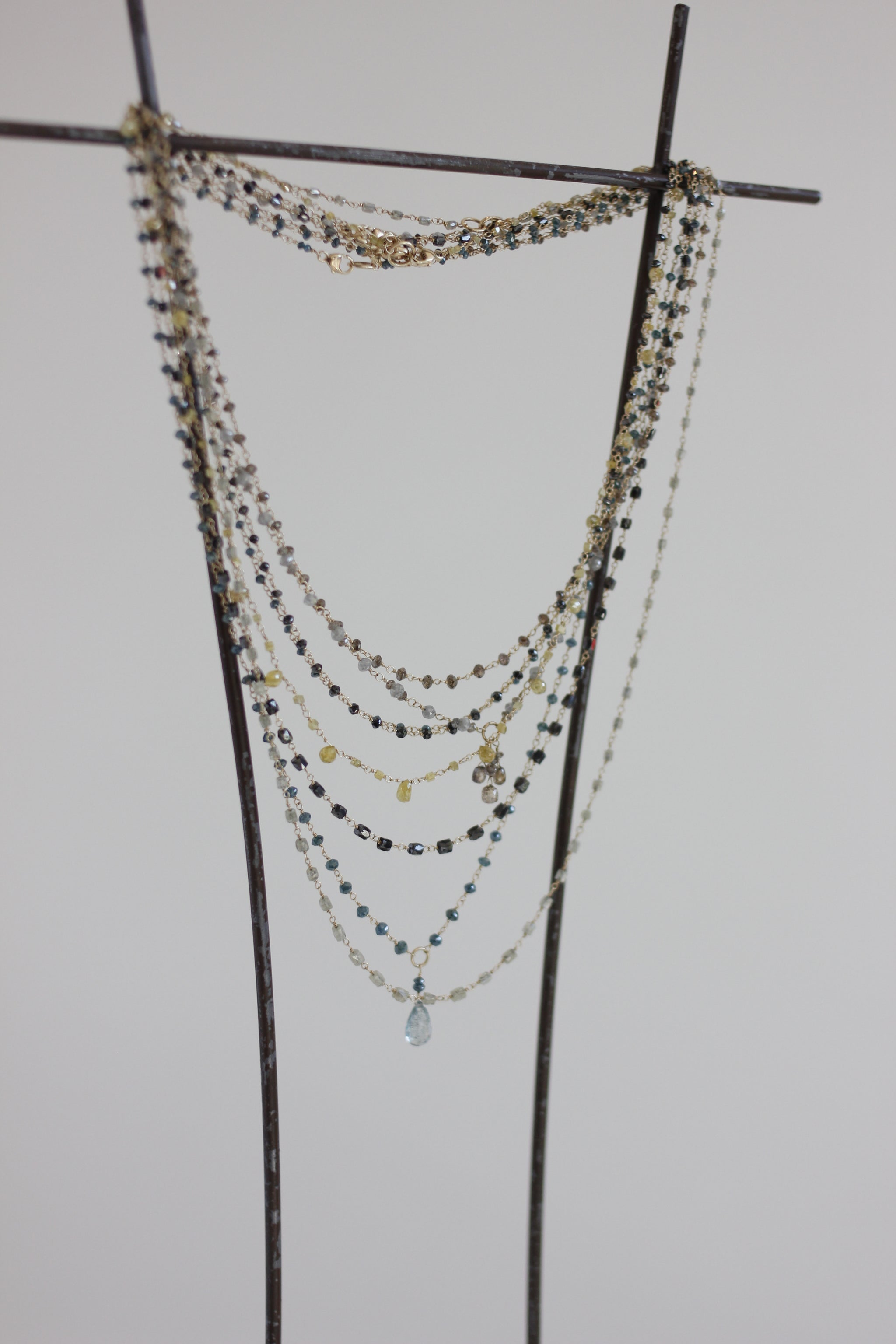 Dawn Bryfogle diamond barrel bead necklace
