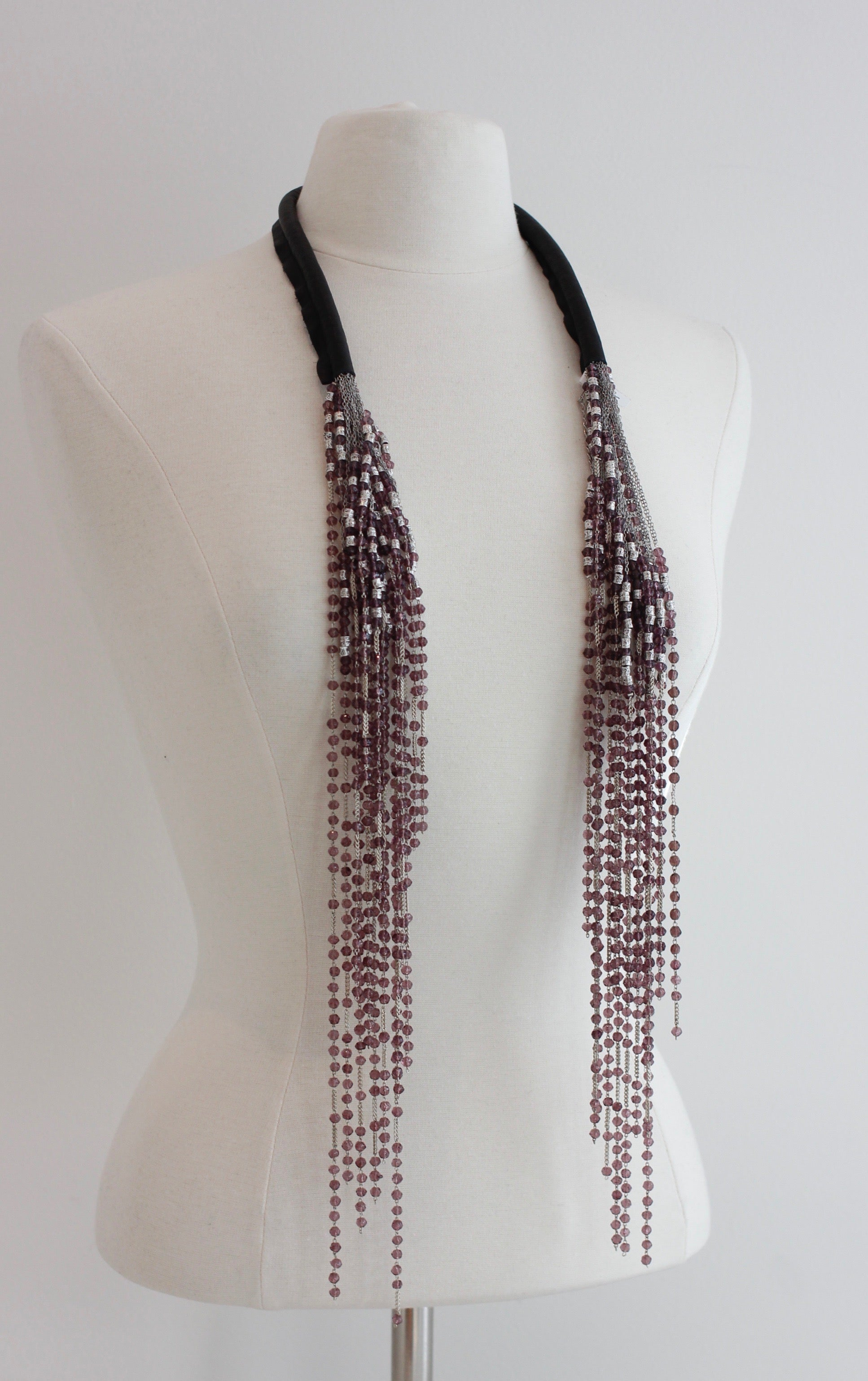 JEAN-FRANCOIS MIMILLA Glass Bead And Leather Necklace COL107 - Habits Jackson Hole