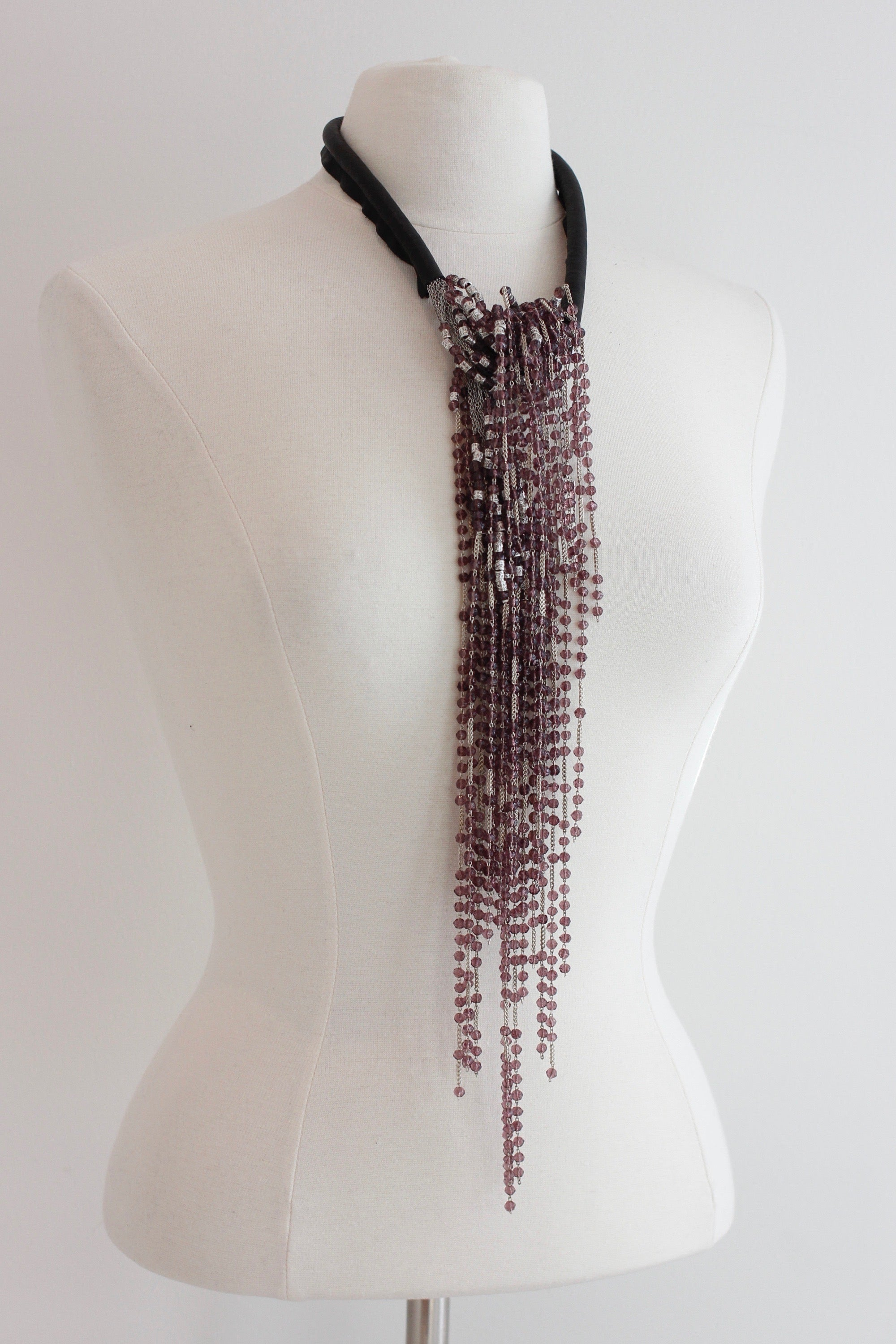 JEAN-FRANCOIS MIMILLA Glass Bead And Leather Necklace COL107