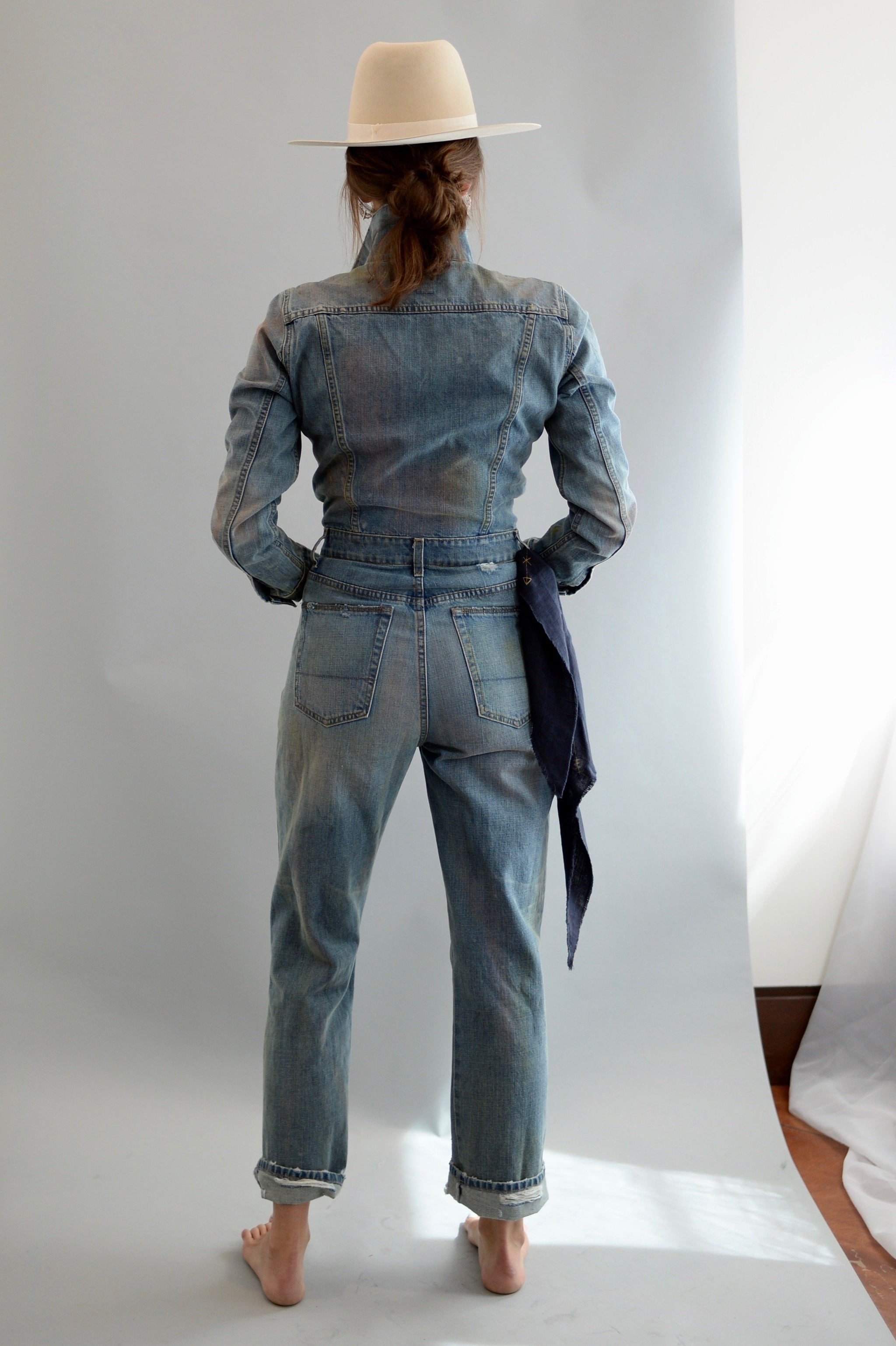 NSF Amina distressed denim jumpsuit