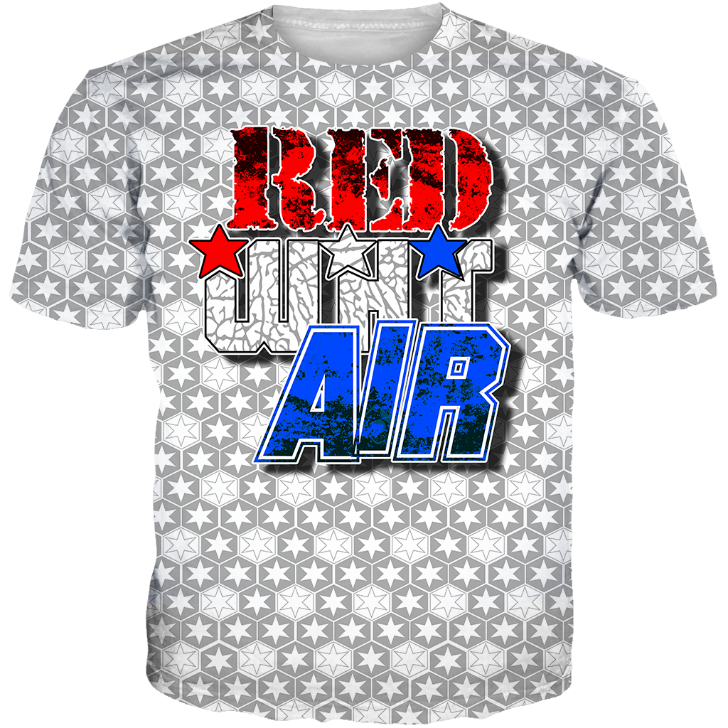 USA 3 Red Wht Air All Over Tee