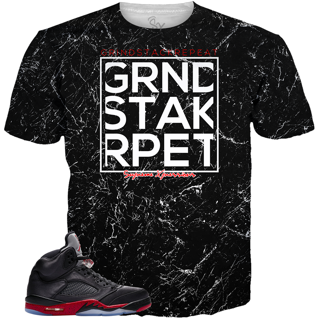 Satin Black 5 Grind Stack Repeat ALL OVER TEE