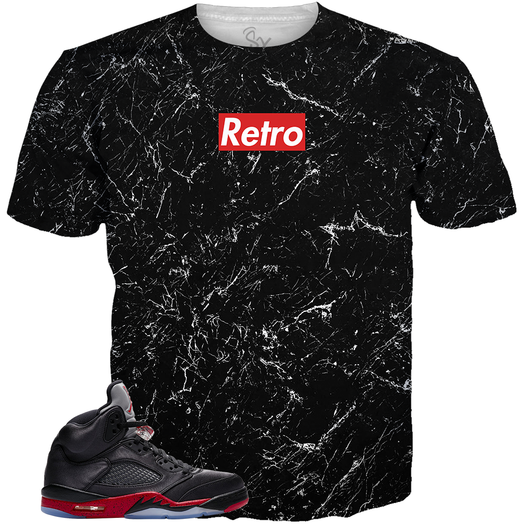 Satin Black 5 Retro Supreme ALL OVER TEE