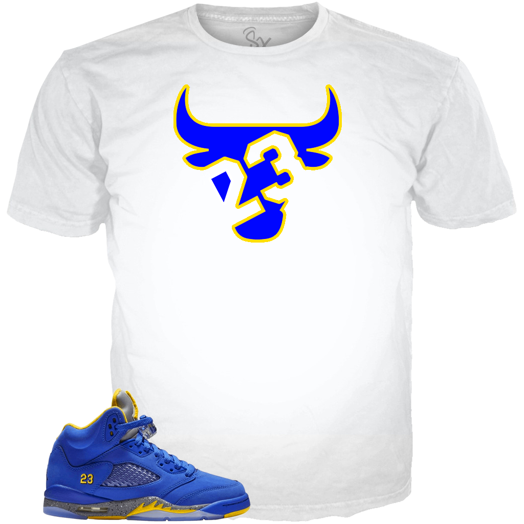 Blue Yellow 5 23 Bull WHITE TEE