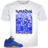 Blue Yellow 5 Hoardin Jordans WHITE TEE