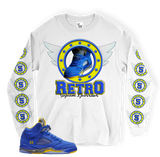 Blue Yellow 5 Retro Ring LONG SLEEVE WHITE TEE
