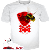 Candy Cane 14 Bee Shield WHITE TEE