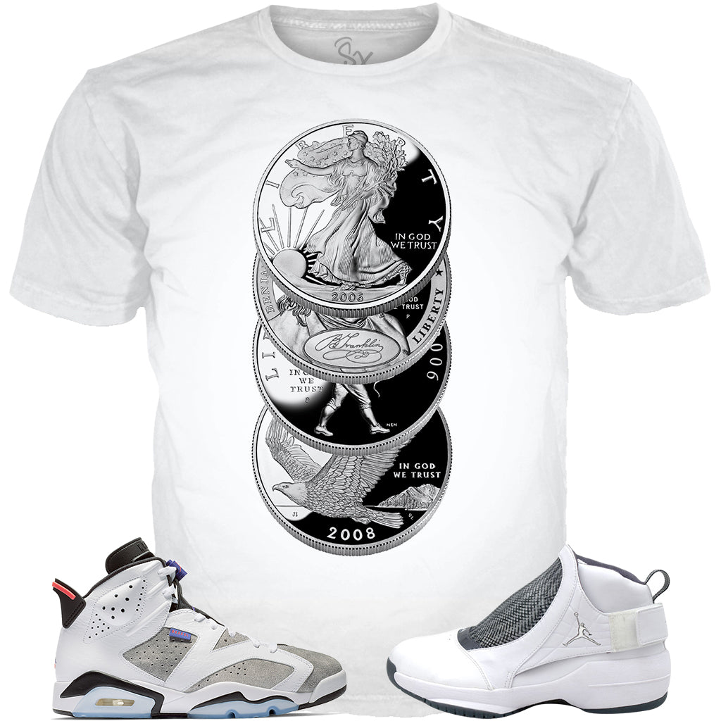 Flint Grey 6 Silver Dollars WHITE TEE