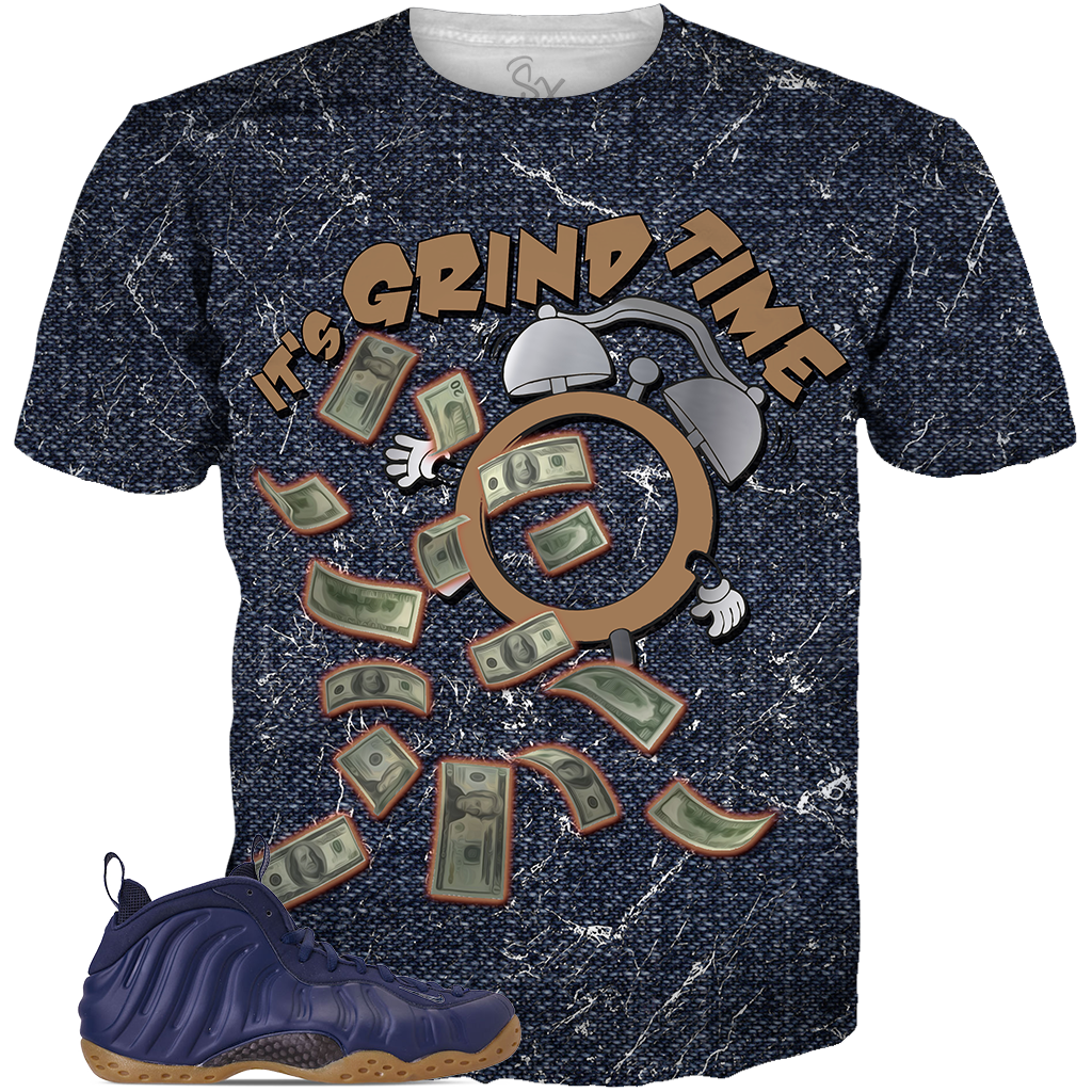 Navy Foams Grind Time ALL OVER TEE