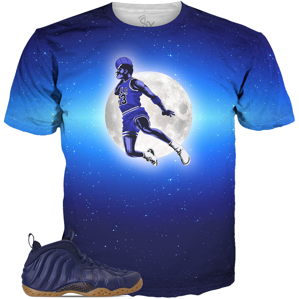 Navy Foams Moon Dunk ALL OVER TEE