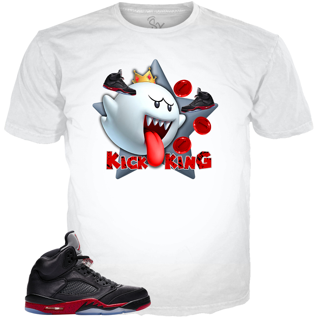 Satin Black 5 Kick King WHITE TEE
