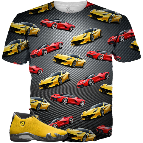 0f86e46a3e4 Yellow Ferrari 14 Pattern Carbon Fiber ALL OVER TEE