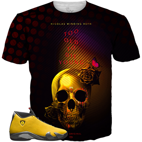 98210246a71 Yellow Ferrari 14 Too Old To Die Young 00 ALL OVER TEE