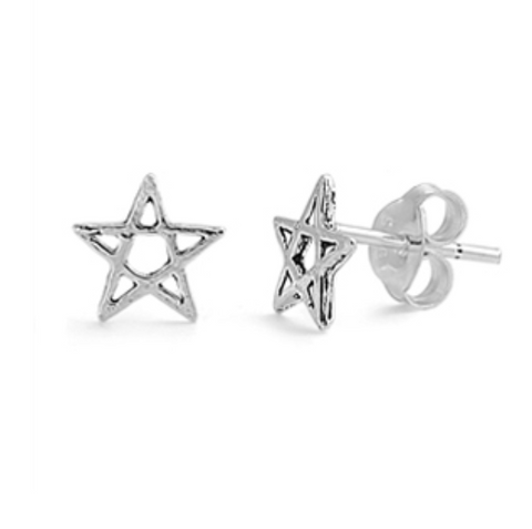 PENTAGRAM Sterling Silver Stud Earrings