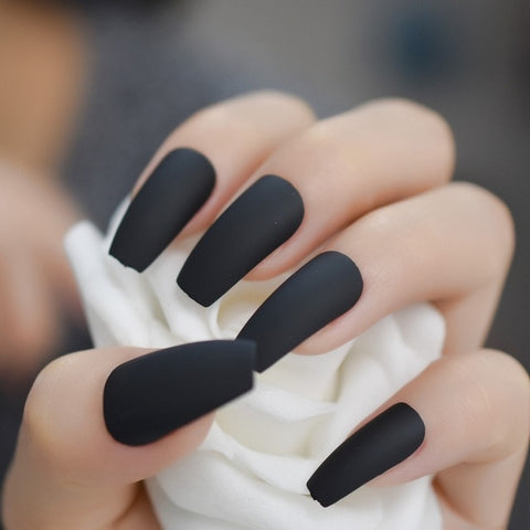 MATTE Black Coffin Press on Nails