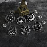 WITCHY Black & Silver Enamel Pins