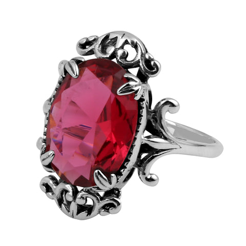 Victorian Red Ruby Ring Genuine 925 Sterling Silver