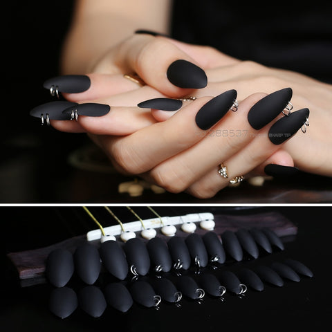 PIERCED Matte Black Fake Nails