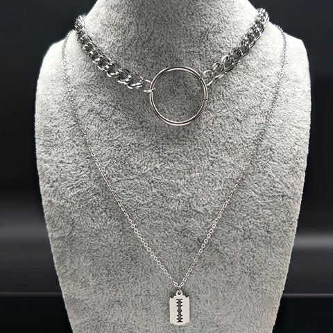 Razor Blade Layered O Ring Necklace