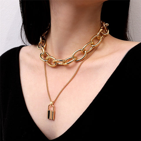 Double layered chain & padlock necklace (gold/silver)