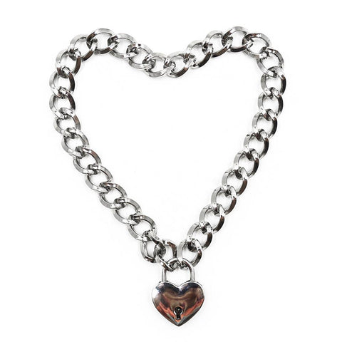 Heavy Curb Chain necklace with heart padlock
