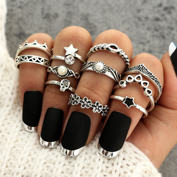 90s retro 11 Piece knuckle stacking ring set