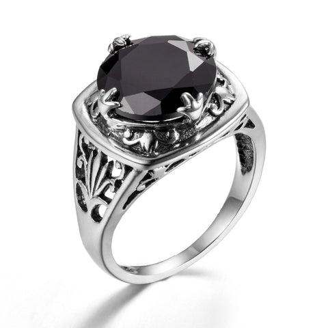 Vintage Faceted Round Black Gem 925 Sterling Silver Ring