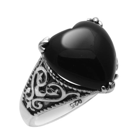 Vintage Black Heart Ring 925 Sterling Silver