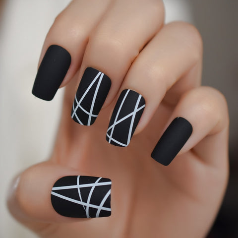 Geometric MATTE BLACK Press On Nails 24 pcs