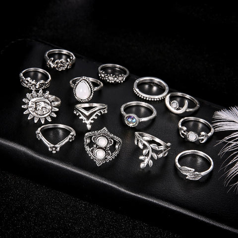 ATHENA Crystal 14 piece RING SET