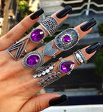 APHRODITE Purple 9 Piece Ring Set