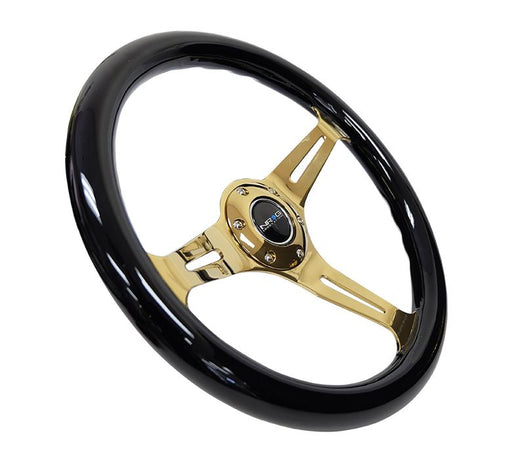 NRG Classic Wood Grain Steering Wheel (350mm) Black Grip w/Chrome Gold 3-Spoke Center
