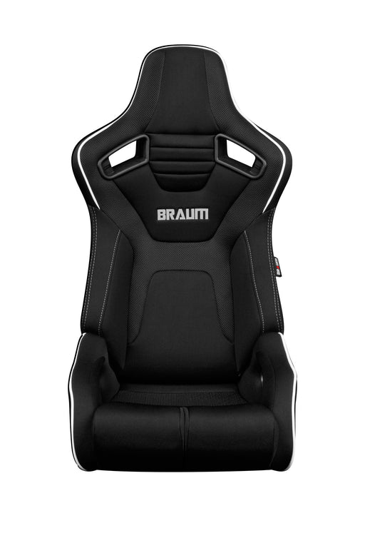 BRAUM Racing Elite-R Series Racing Seats (Black Cloth & White Piping) - Outcast Garage