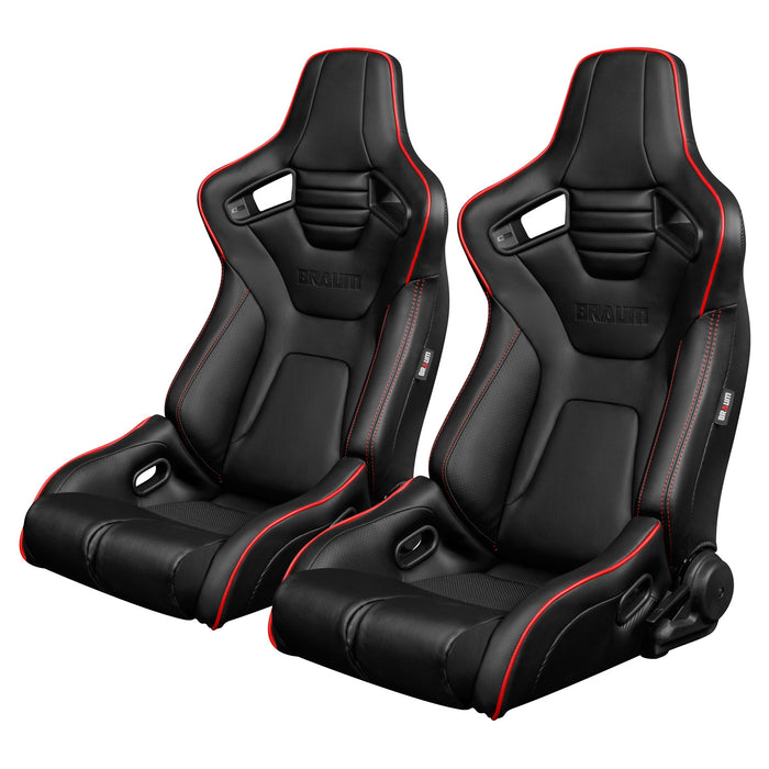 BRAUM Racing Elite-R Series Racing Seats (Black Leatherette & Red Piping) - Outcast Garage