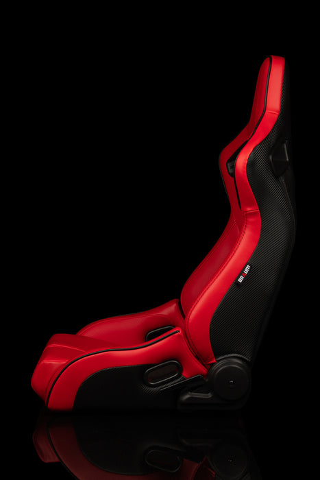 BRAUM Racing Elite-R Series Racing Seats (Red Leatherette & Black Piping)