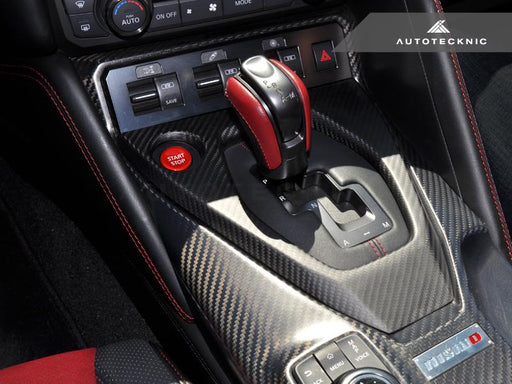 AutoTecknic Dry Carbon Shift Console Cover - Nissan R35 GT-R 2017