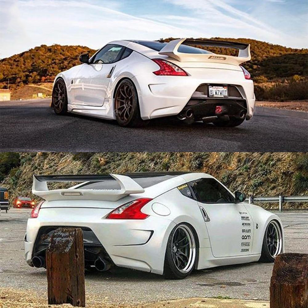 AMS-Style Fiberglass Wing Spoiler w/ Carbon Top & 3rd Brake Light - Nissan 370z 09+
