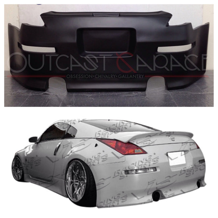VIS Racing V-Speed / Vertex-Style Rear Bumper (Fiberglass) - Nissan 350Z - Outcast Garage
