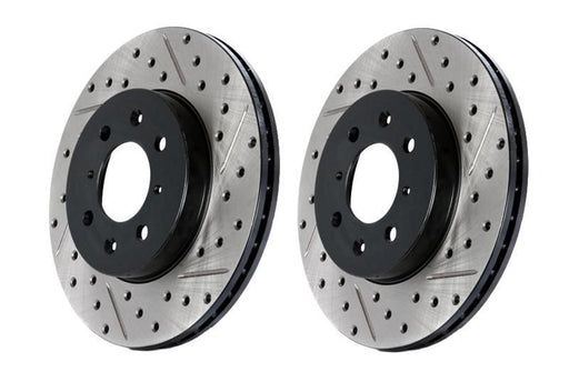 Stoptech Direct Replacement Rotors for Standard Non-Sport Calipers, Drilled/Slotted, Rear Pair - Nissan 350Z 03-05 / Infiniti G35 03-04 RWD, 03-05 AWD