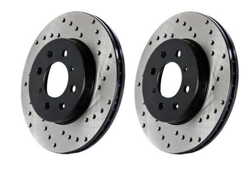 Stoptech Direct Replacement Rotors w/ Standard Calipers, Drilled, Rear Pair - Nissan 350Z 06-09, 370Z / Infiniti G35 05+, G37, Q40 Sedan / G37 09 Coupe AWD
