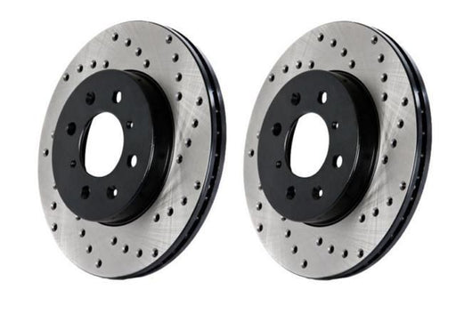 Stoptech Direct Replacement Rotors, Drilled, Front w/ Brembo Calipers - Nissan 350Z / Infiniti G35