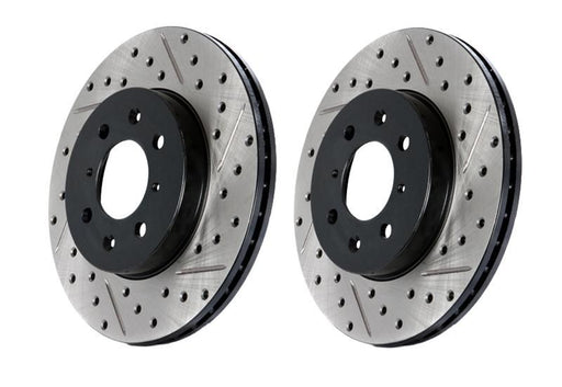 Stoptech Direct Replacement Rotors, Drilled/Slotted, Front w/ Brembo Calipers - Nissan 350Z / Infiniti G35